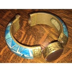Jewelry - Vintage Hinged Turquoise Mosaic Inlay Bangle Agate
